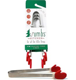Krumbs Kitchen Christmas Mini Serving Tongs 3pk W Silicone Santa Mitts