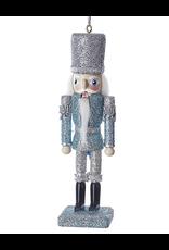 Kurt Adler Blue Silver Glitter Wooden Nutcracker Ornament 6 inch - C