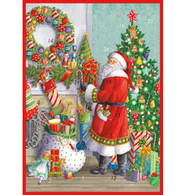 Caspari Christmas Advent Calendar Card Santa At The Mantel