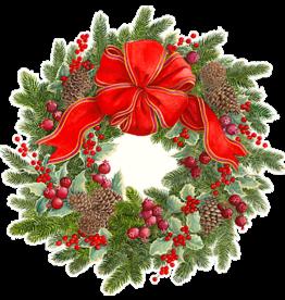 Caspari Christmas Placemats Evergreen Wreath Hardback Placemat