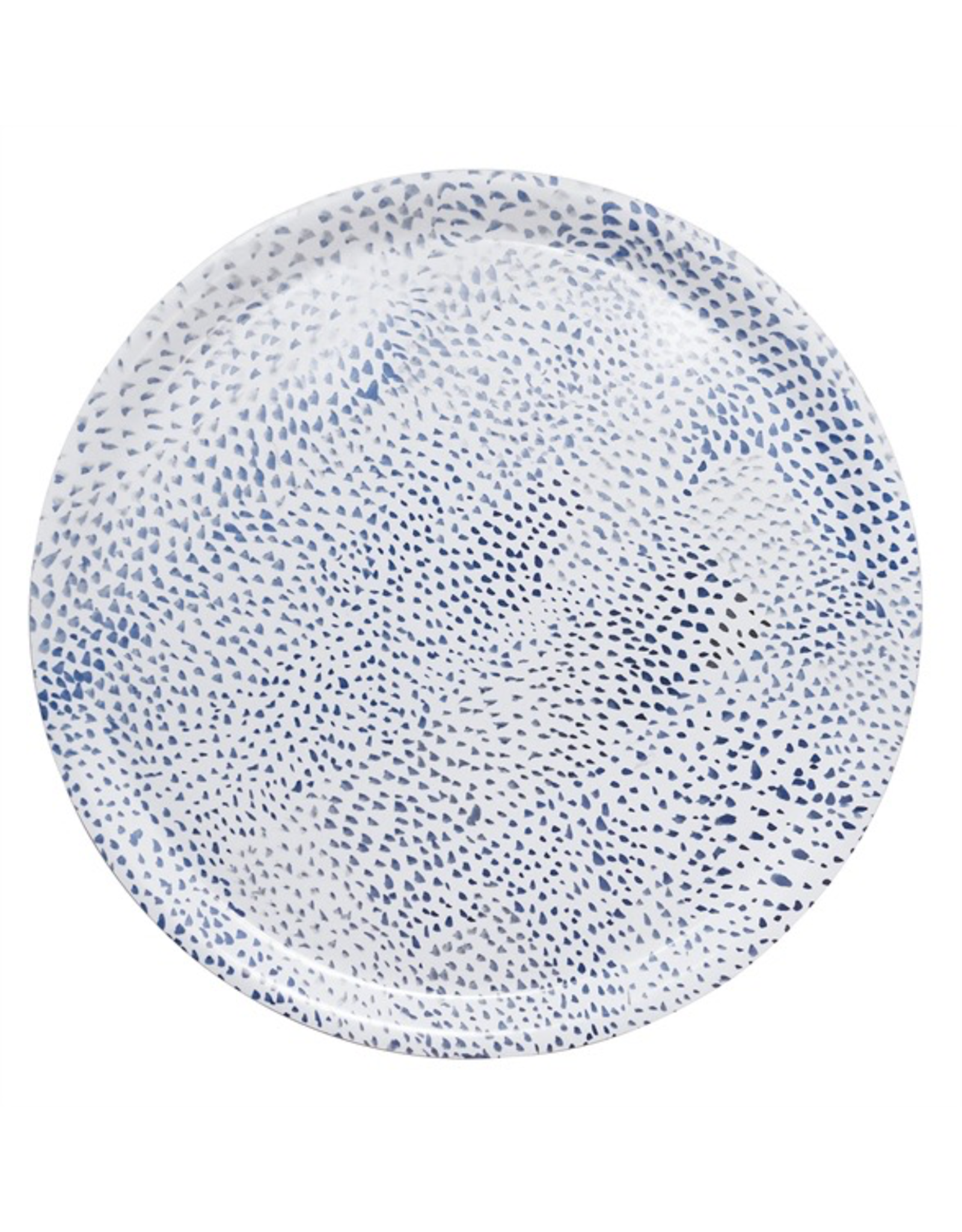 Mariposa Ary Home Blue Dot Round Tray w Melamine Top Coat