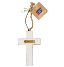 Mud Pie Survivor Wooden Cross American Cancer Society Ornament
