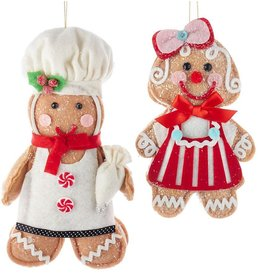 Kurt Adler Gingerbread Cookie Doll Christmas Ornaments Girl Boy 2pc Set