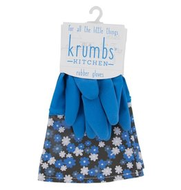 Designer Rubber Gloves Blue With Floral Cuff