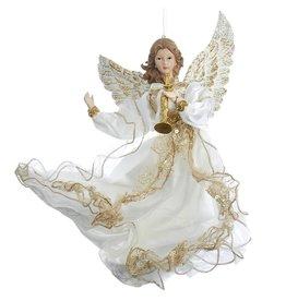 Kurt Adler Ivory And Gold Flying Angel Christmas Ornament 12 Inch