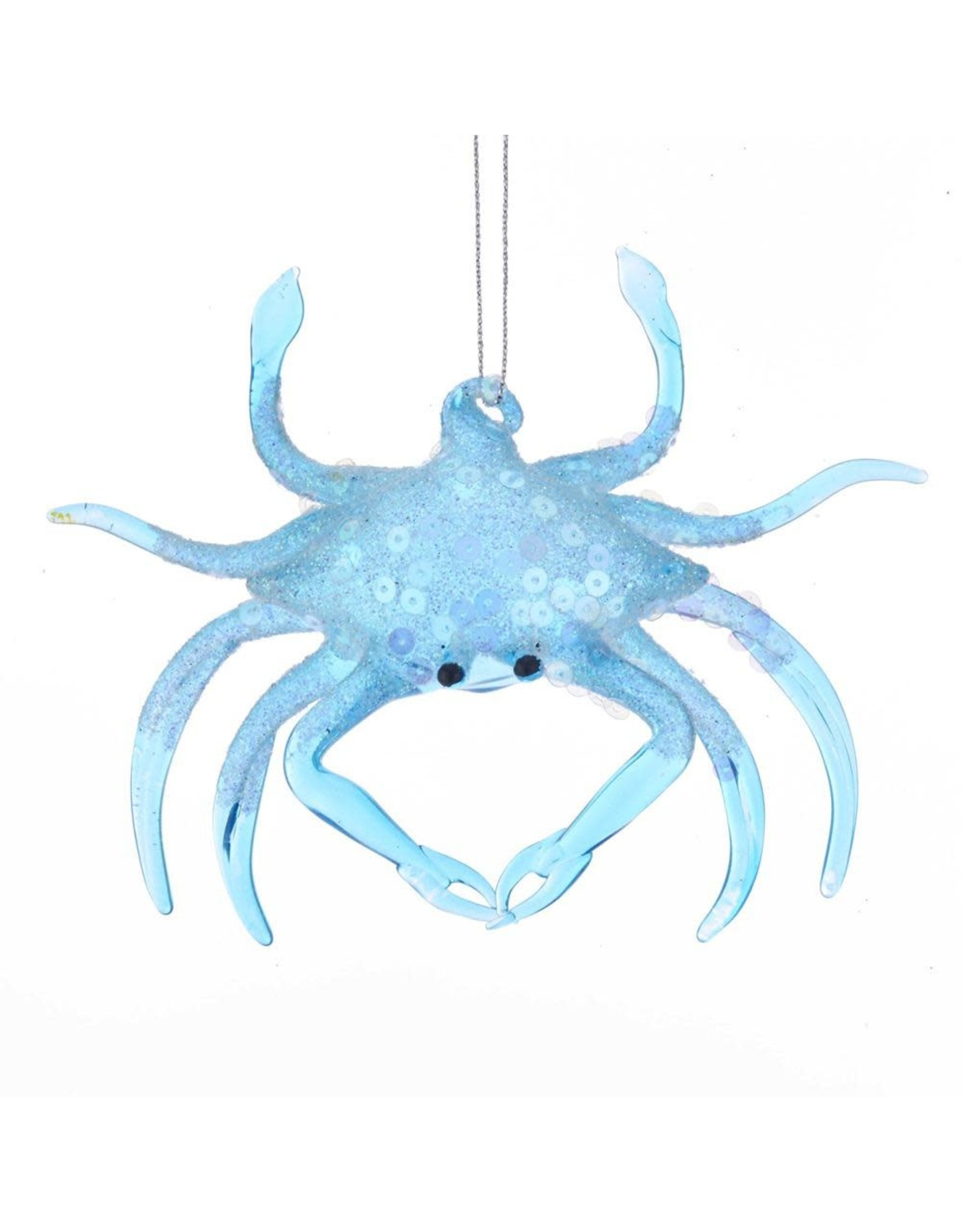 Kurt Adler Blue Glass Crab Ornament With Glitter And Sequins