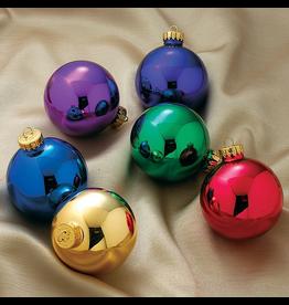 Kurt Adler Glass Ball Christmas Ornaments Shiny Multi Colored 65MM Set of 6