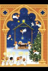 Caspari Advent Calendar Angels Over Baby Jesus In Manger 13x10
