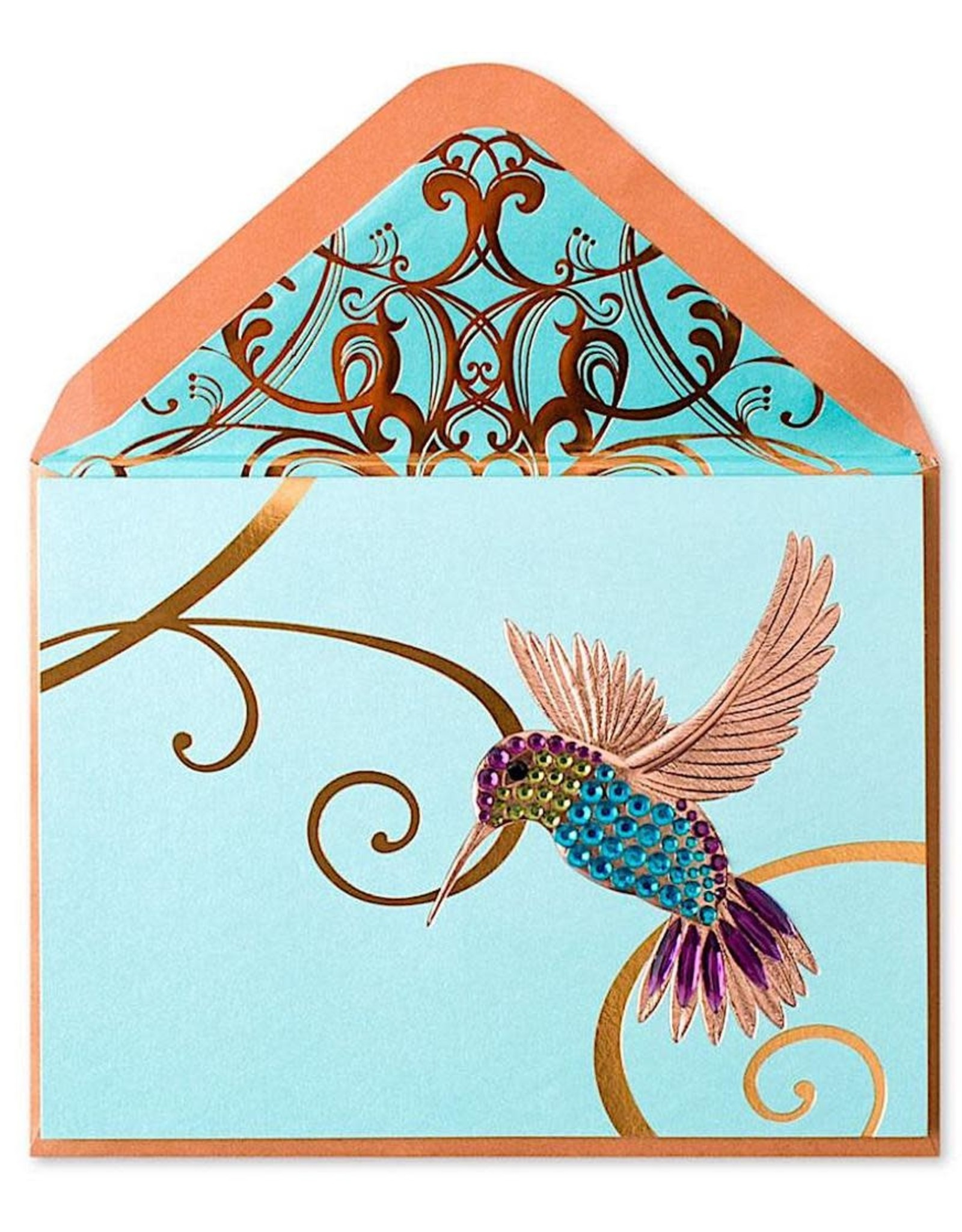 PAPYRUS® Blank Card Gem Hummingbird on Teal