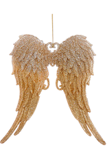 Kurt Adler Angel Wings Ornament w Glittered Silver to Gold Tips