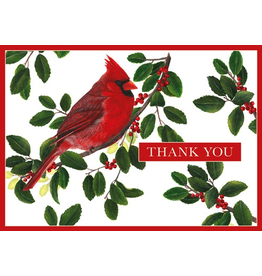 Caspari Christmas Thank You Note Cards Set of 8 Winter Song Birds