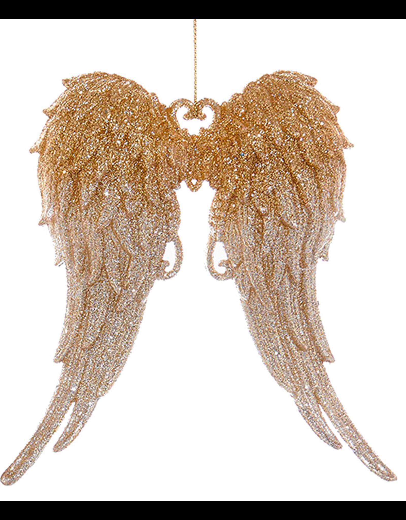 Kurt Adler Angel Wings Ornament w Glittered Gold to Silver Tips