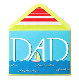 PAPYRUS® Fathers Day Card Handmade Dad w Sailboat & Ocean