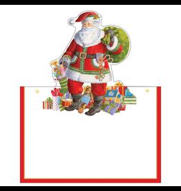 Caspari Christmas Place Cards Tent Style 8pk Santa Claus Lane