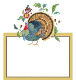 Caspari Place Cards Tent Style 8pk Thanksgiving Setting Turkey