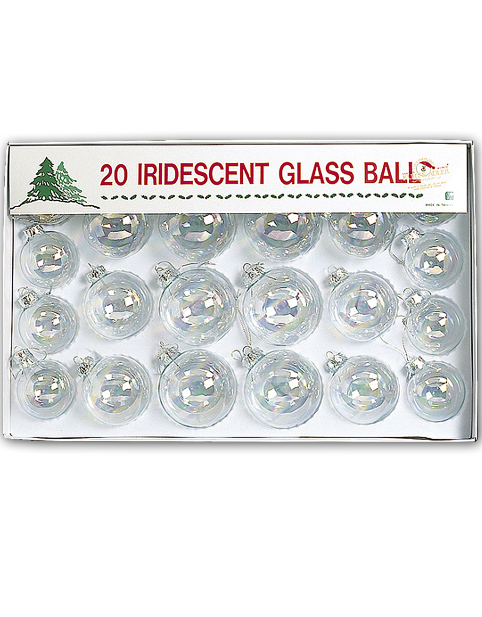 Kurt Adler 20 Iridescent Clear Glass Ball Christmas Ornaments