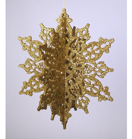 Katherine's Collection Gold Glitter 3D Snowflake Hanging Decoration
