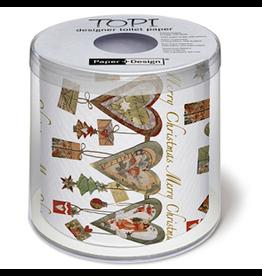 Topi Toilet Paper Merry Christmas Hearts Designer Toilet Paper