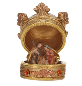 Crown Box Nativity Holy Family W Baby Jesus Table Decoration