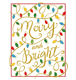 Caspari Boxed Christmas Cards Embossed 10pk Merry and Bright