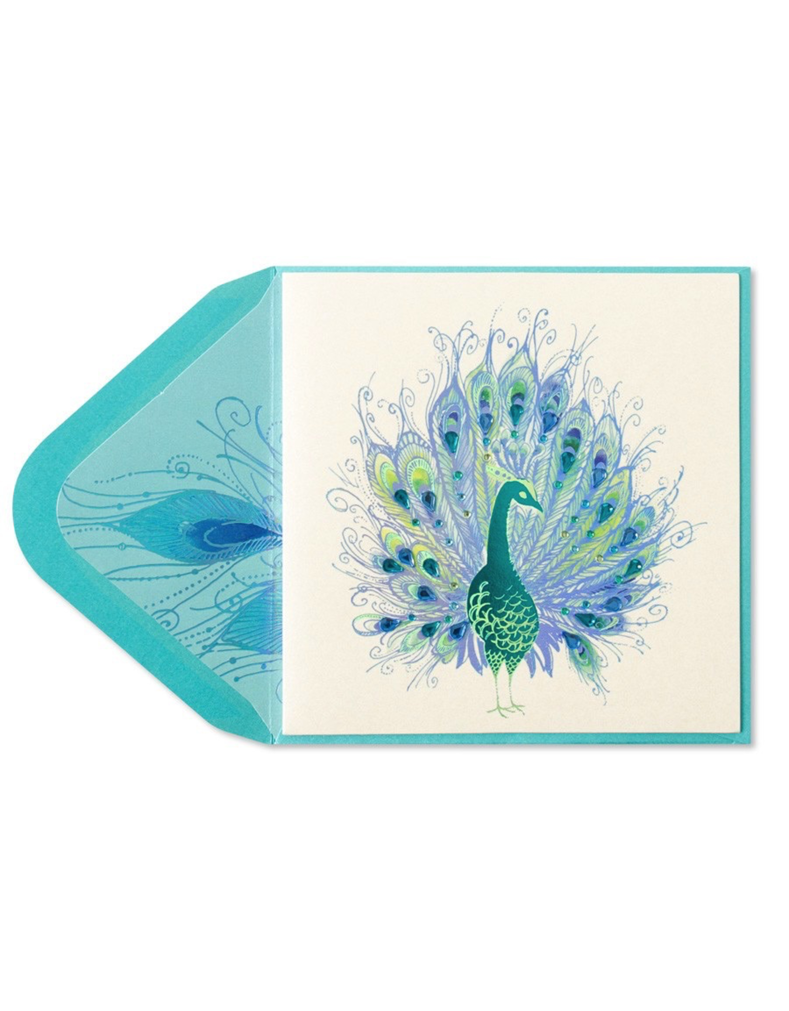 PAPYRUS® Blank Card Peacock with Gems