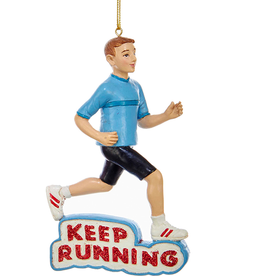 Kurt Adler Male Runner Keep Running Christmas Ornament 4.75 inch