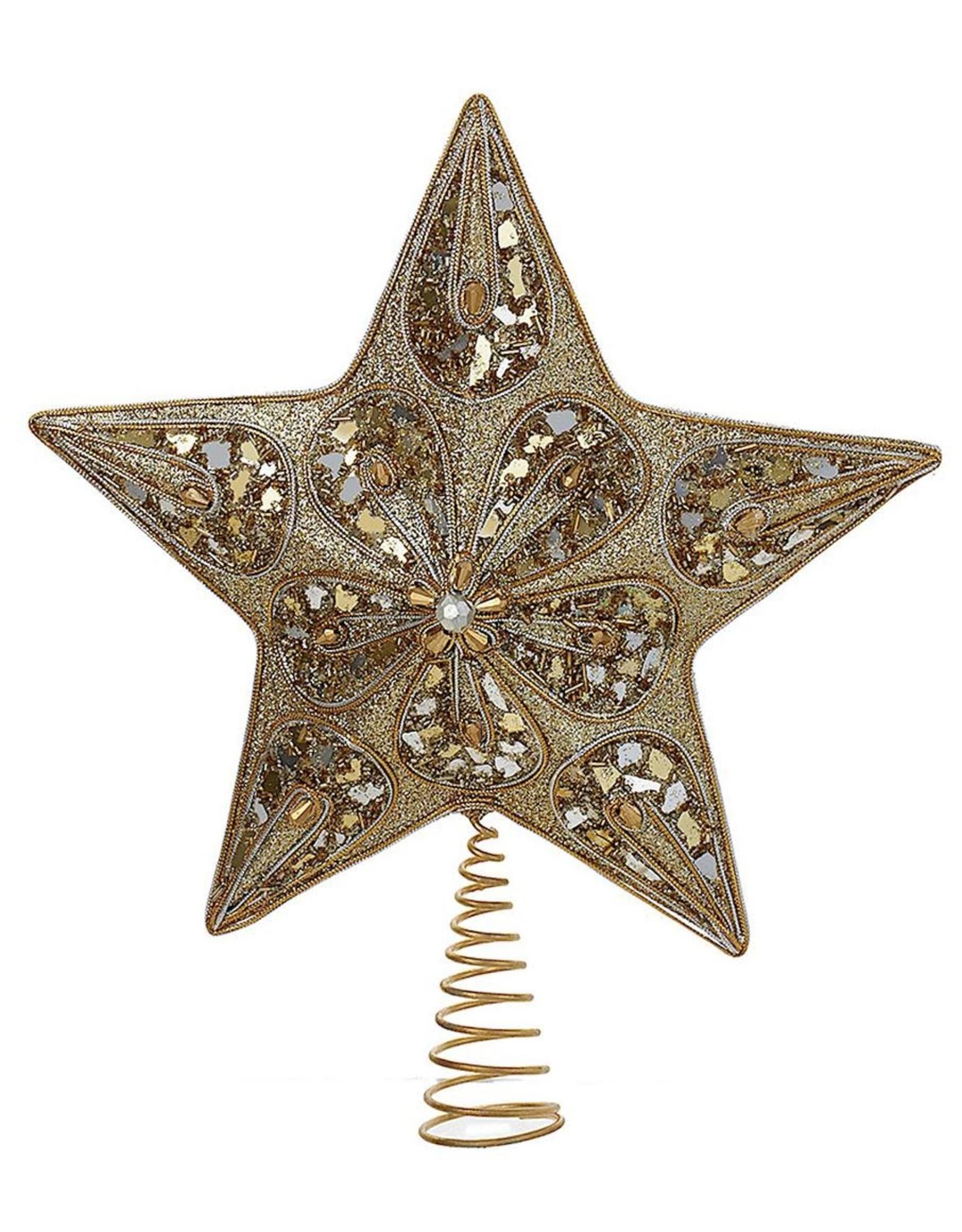 Kurt Adler Silver And Gold Star Christmas Treetop Tree ...
