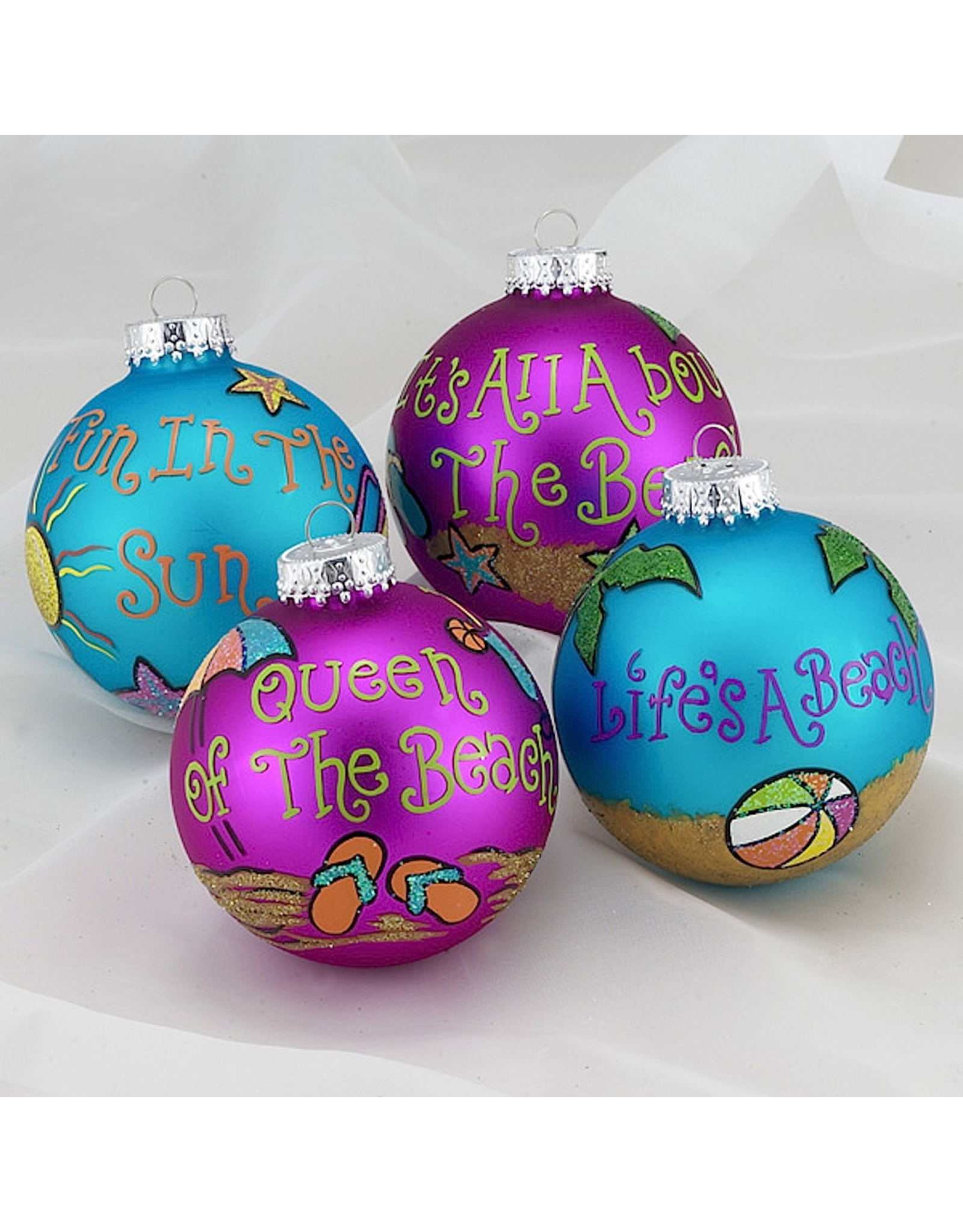 Kurt Adler Beach Design Glass Christmas Ball Ornaments Set 4 80MM