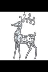Kurt Adler Acrylic Reindeer Deer Ornament Silver Glitter Mirror Body