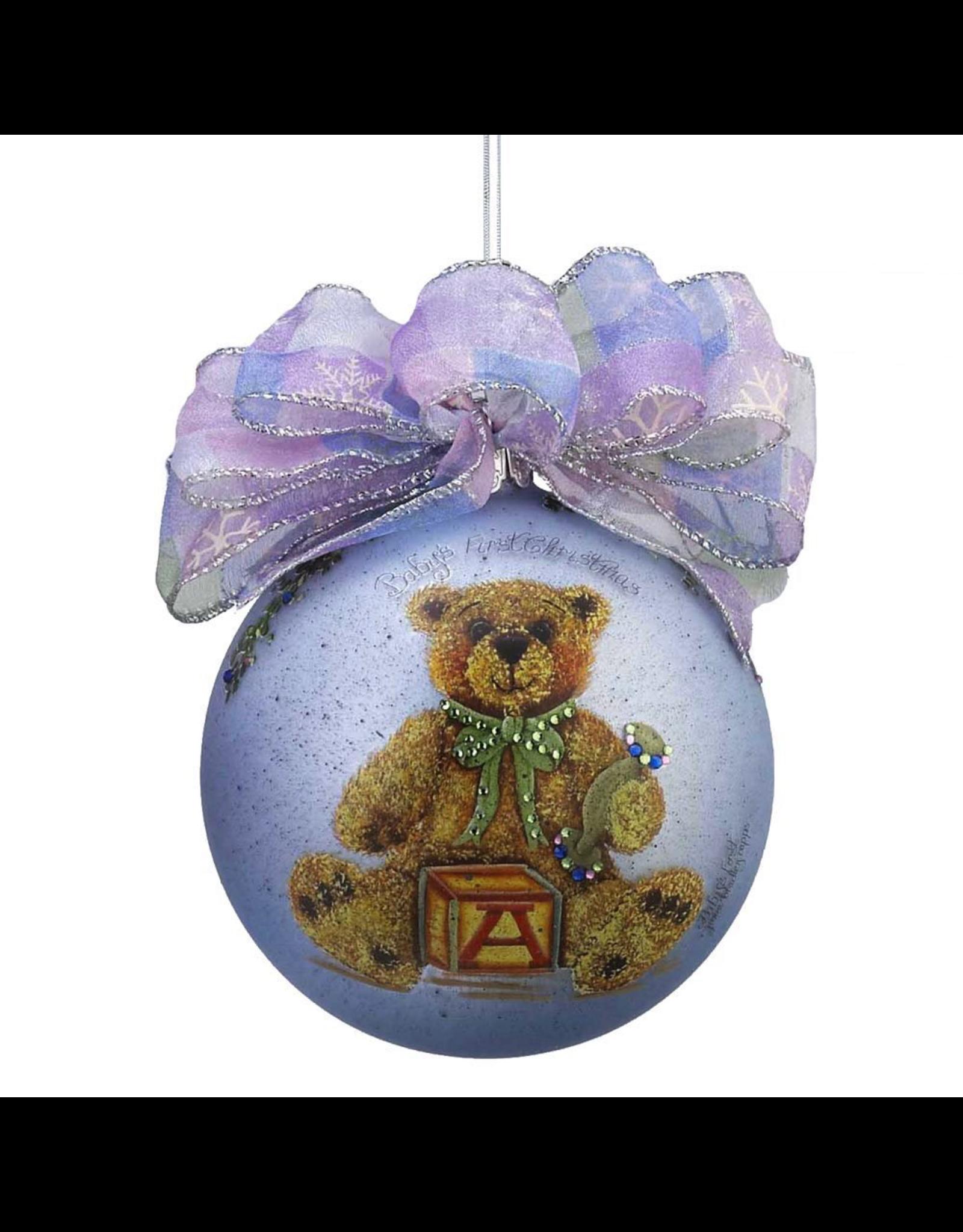Kurt Adler Babys 1st Christmas Ornament Baby Boy Blue W Teddy Bear