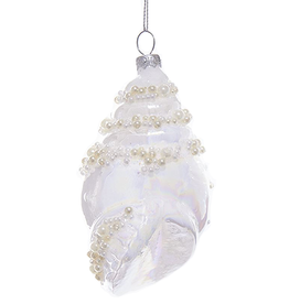 Kurt Adler Glass White Pearl Conch Shell Ornament 5 Inch - A