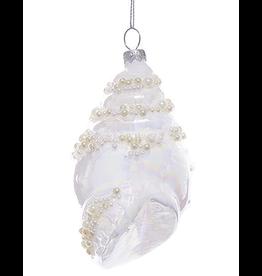 Kurt Adler Glass White Pearl Conch Shell Ornament 5 Inch - A