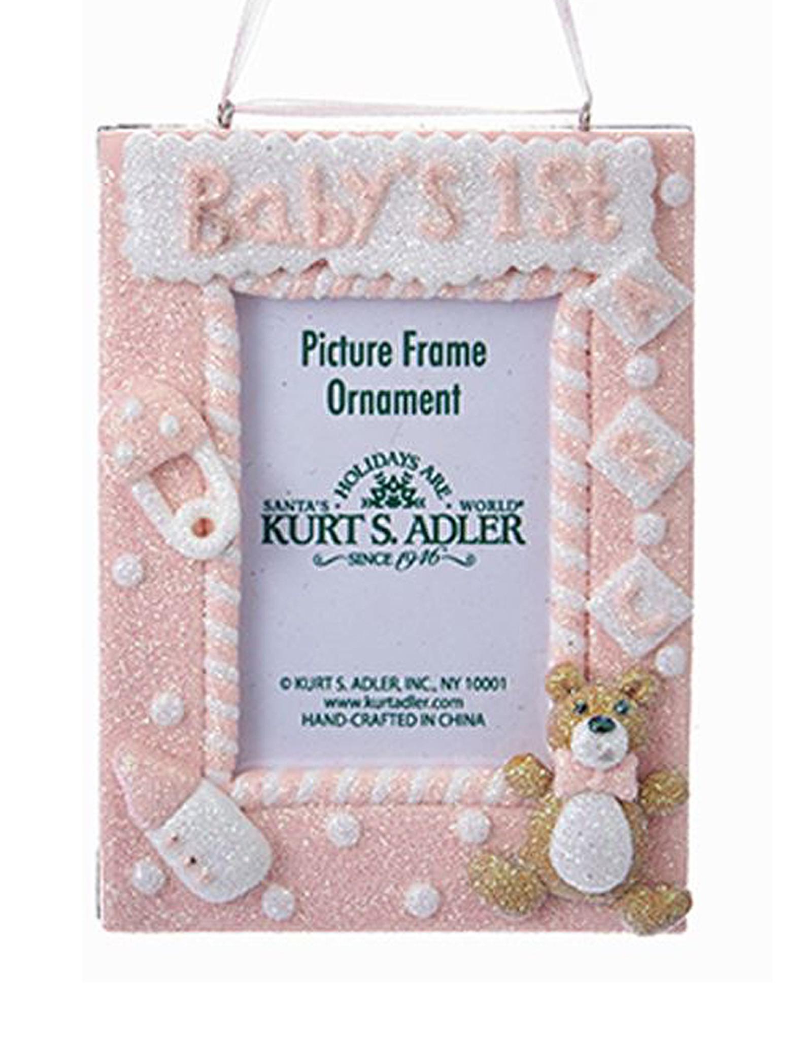 Kurt Adler Babys First Frame Christmas Ornament - Pink