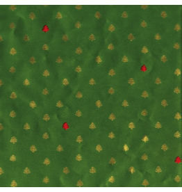 Caspari Christmas Wrapping Paper Roll 8ft Tiny Trees Green Red
