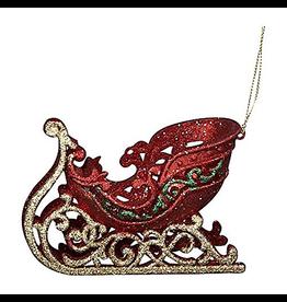 Kurt Adler Red Gold Green Glittered Sleigh Christmas Ornament
