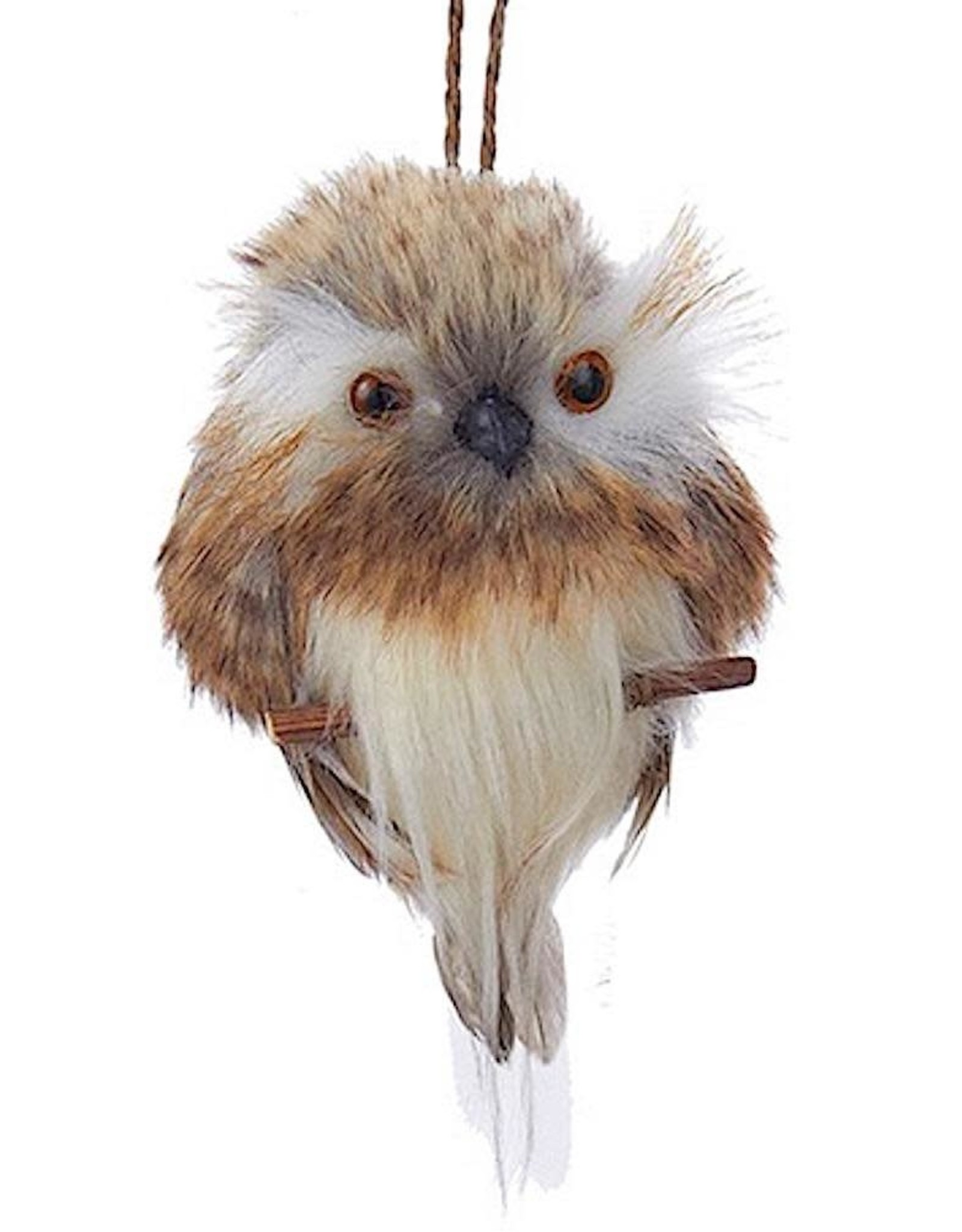 Kurt Adler Brown White Owl On Branch Christmas Ornament 4 Inch - B