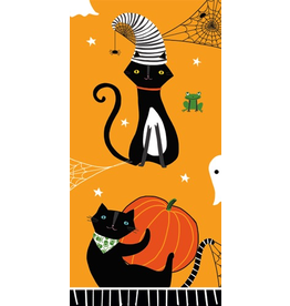 Caspari Halloween Paper Facial Tissues Scaredy Cat Orange Hankies 10pk