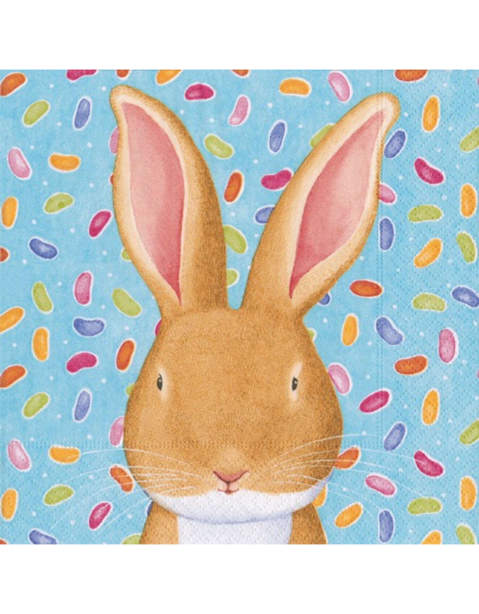 Caspari Easter Paper Cocktail Napkins  20pk Wabbit Bunny Rabbit Blue