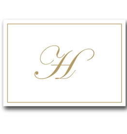 Caspari Gold Embossed Initial Note Cards Letter H Boxed Set of 8