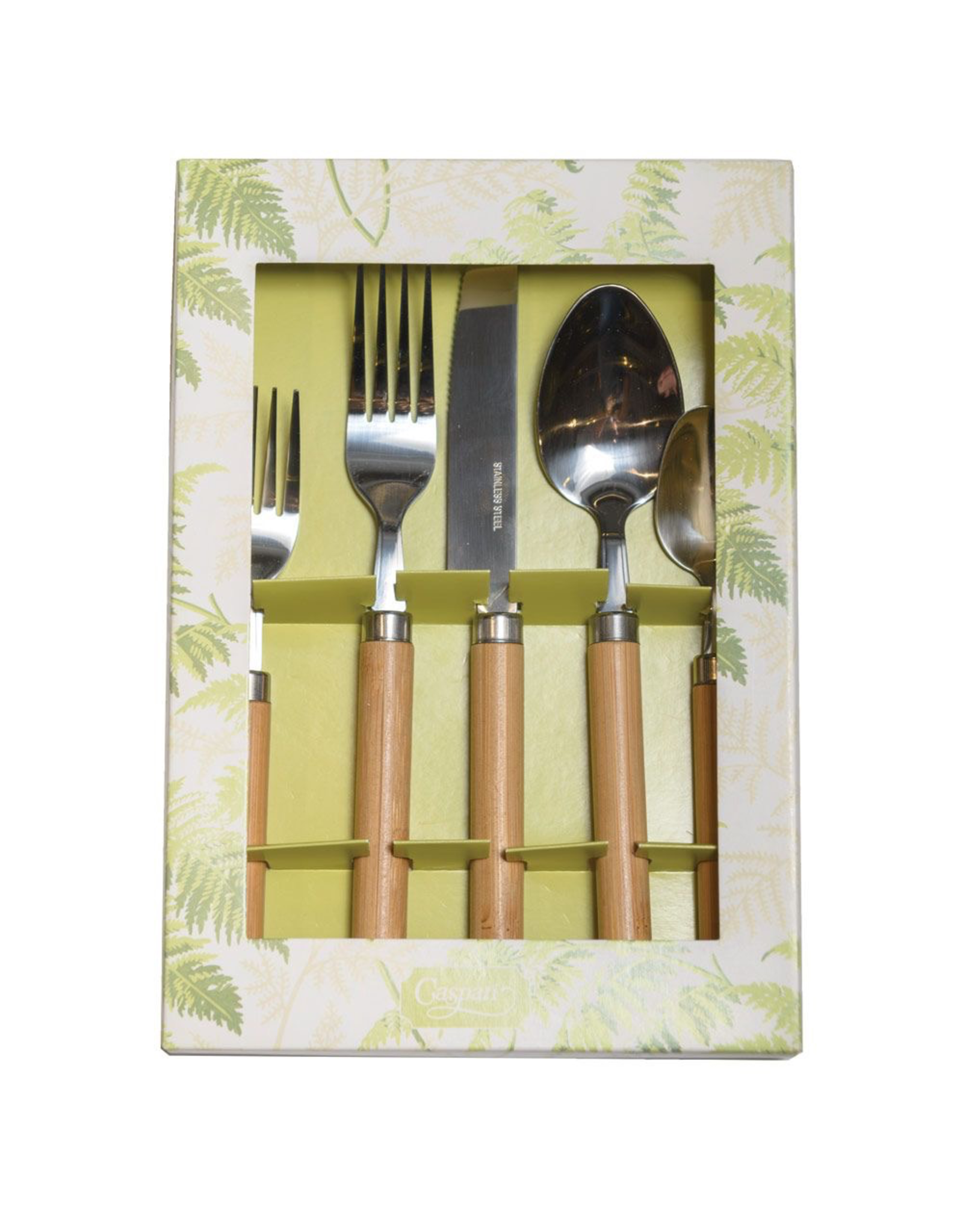 Caspari Bamboo Handle 5-Piece Stainless Steel Flatware Set -Natural