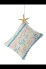 Kurt Adler Beach Pillow Ornament 5x4 inch w Saying Beach Life is Best