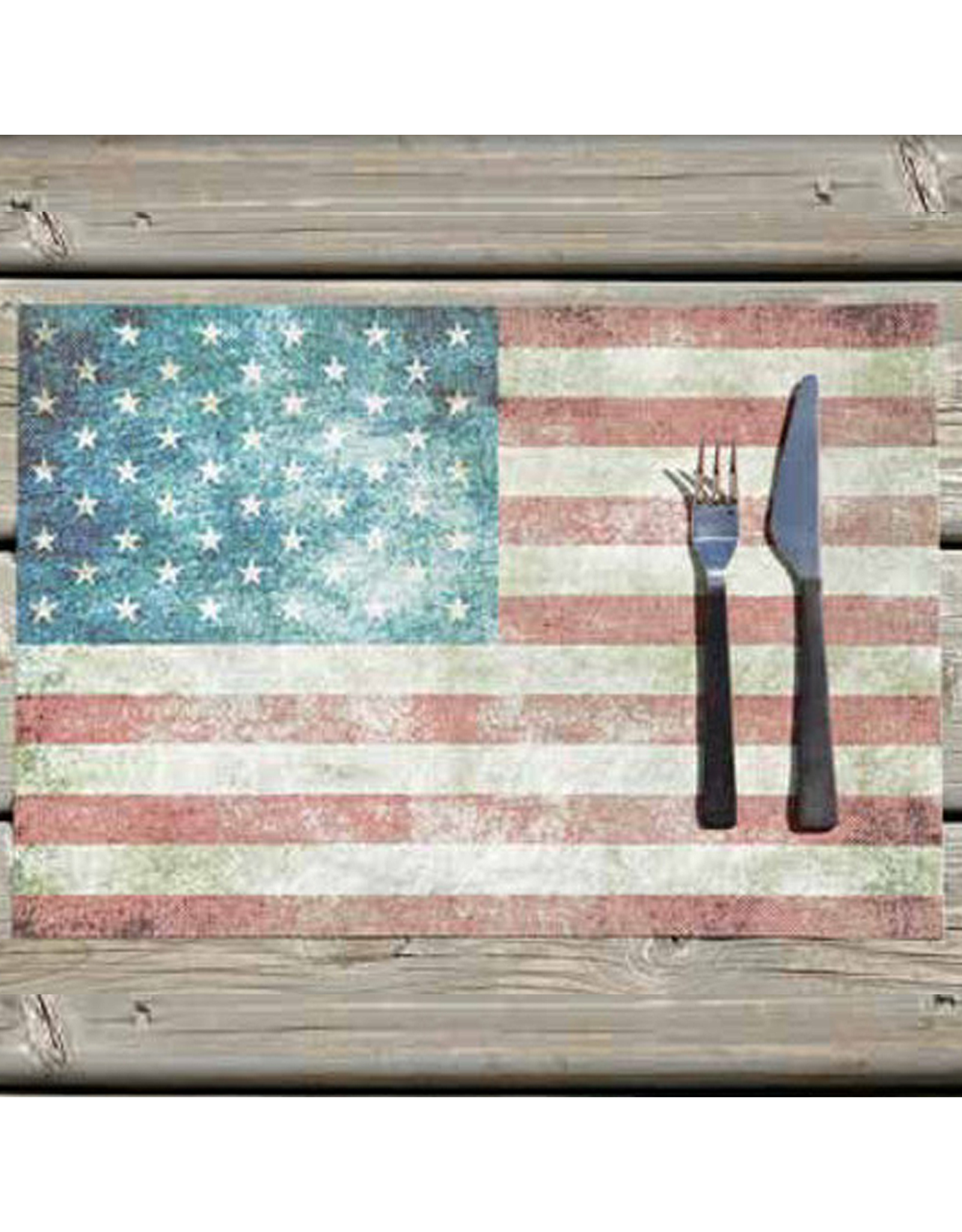 Vinyl Placemat 13x19 Inch American Flag Stars and Stripes