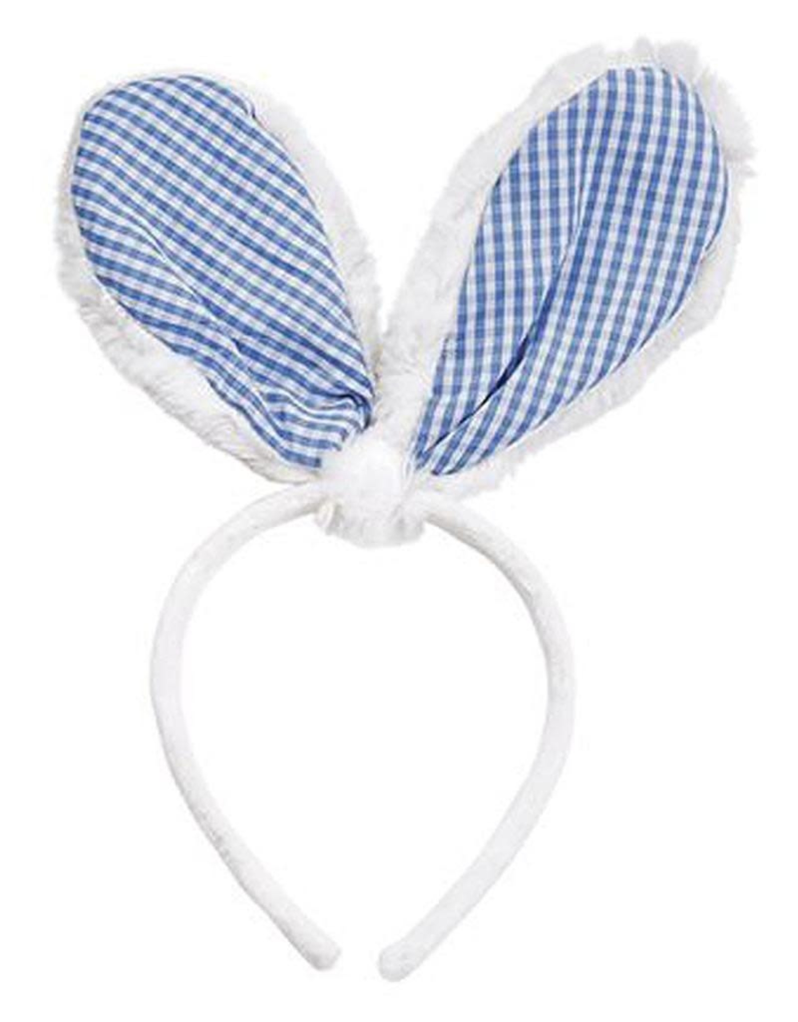 Mud Pie Bunny Ears Headband - White w Blue Gingham