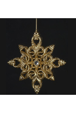 Kurt Adler Acrylic Gold Snowflake with Silver Gem Ornament