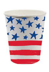Slant 8oz Paper Cups 8ct w Stars and Stripes Patriotic Flag Design
