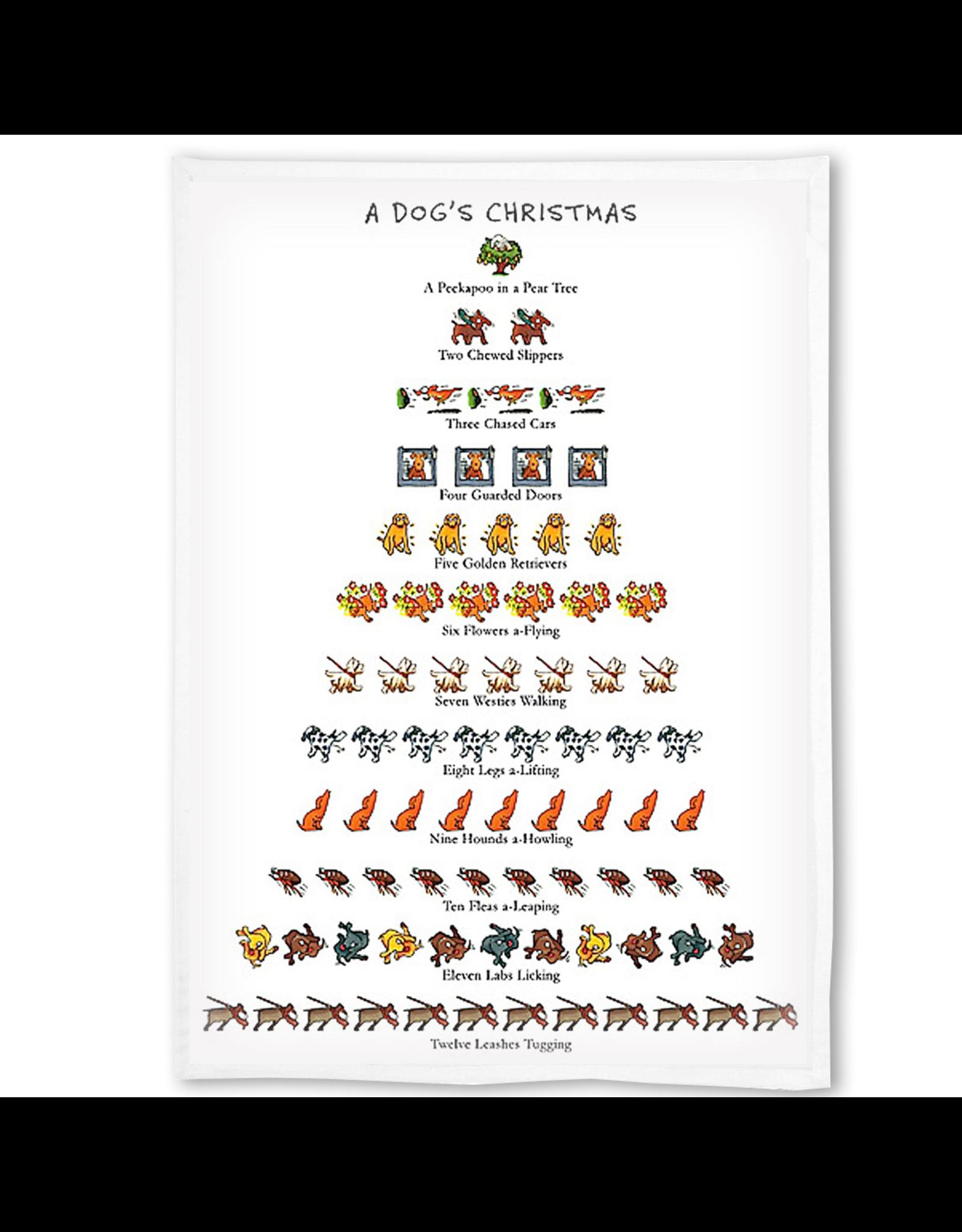 Peking Handicraft A Dogs 12 Days Of Christmas Towel Kitchen Tea