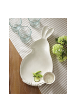 Mud Pie Bunny Chip And Dip Ceramic Tray W Dip Bowl 1x17x9.5