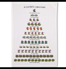 Peking Handicraft Golfer's 12 Days of Christmas Kitchen Tea Flour Sack