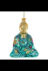 Kurt Adler Christmas Ornament Oriental Asian Glass Buddha -Blue