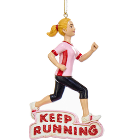 Kurt Adler Female Runner Keep Running Christmas Ornament 4.75 inch